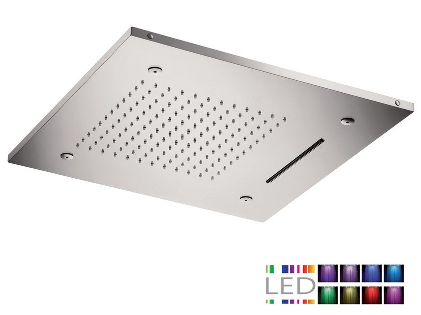 LED 3-spray stainless steel overhead shower for chromotherapy SQL-09 | Overhead shower for chromotherapy by Rubinetterie Mariani