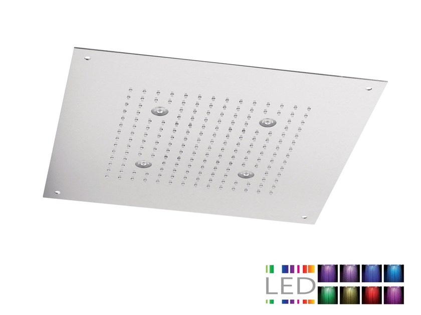 LED built-in stainless steel overhead shower with chromotherapy SQL-10 | Overhead shower with chromotherapy by Rubinetterie Mariani