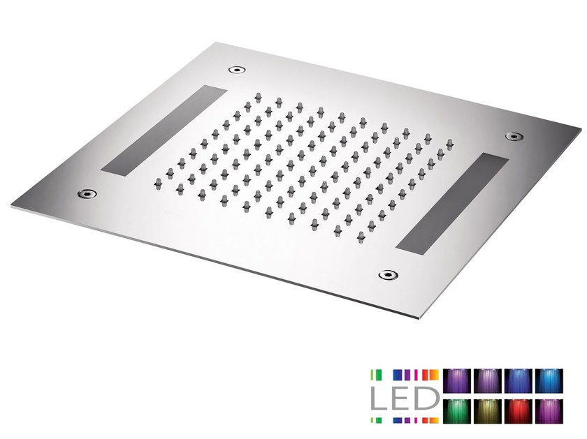 LED built-in stainless steel overhead shower with chromotherapy SQL-12 | Overhead shower with chromotherapy by Rubinetterie Mariani
