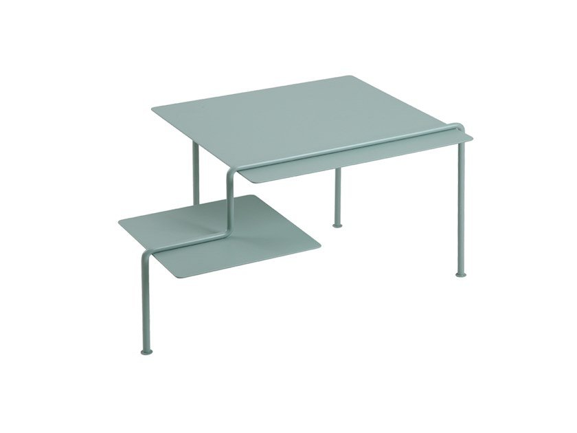Low square stainless steel and wood coffee table SQUARE A by ZENS Lifestyle