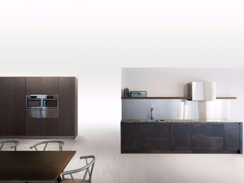 Cucina lineare SQUARE BRUNITO NERO by Xera by Arex