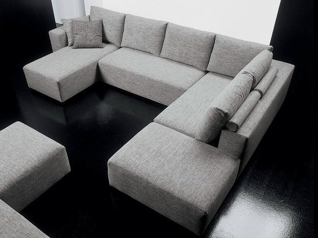 Corner fabric sofa with chaise longue SQUARE | 6 seater sofa by Diemme