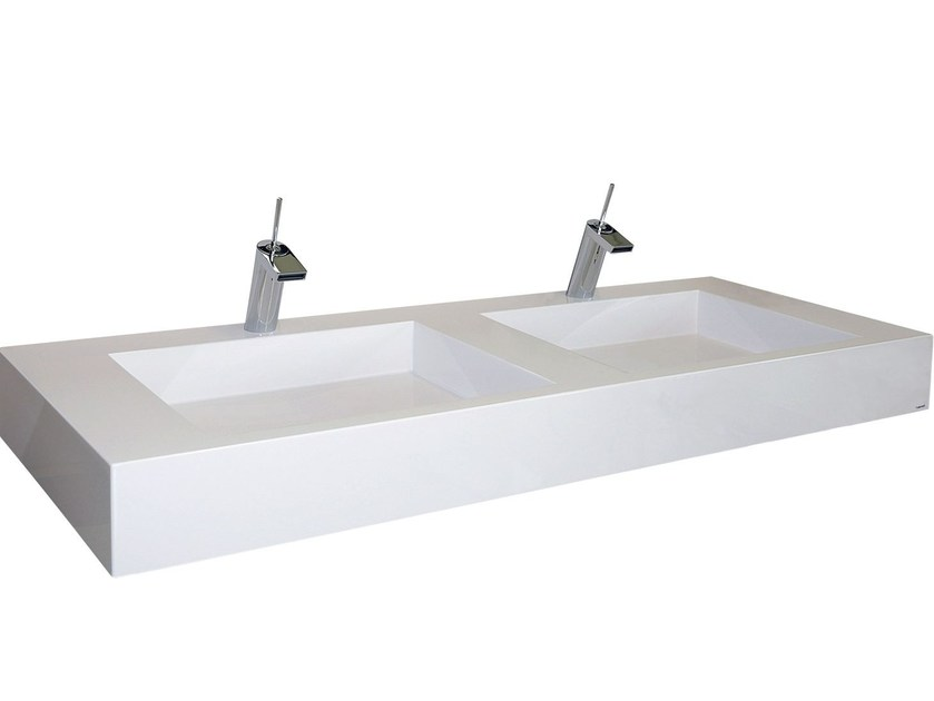 Double Pietraluce® washbasin SQUARE | Double washbasin by Technova