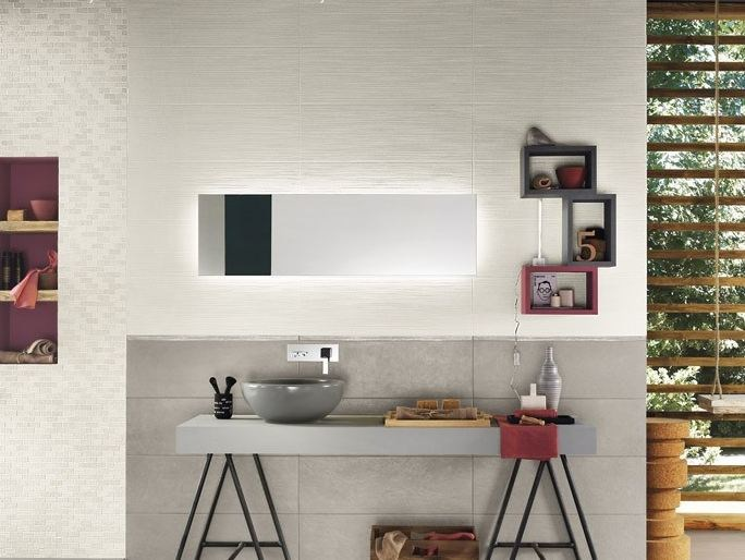 White-paste wall tiles with concrete effect SQUARE WALL Bianco by Impronta Ceramiche