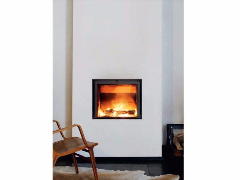 Wood-burning wall-mounted glass and steel fireplace STÛV 21-75 By Stûv