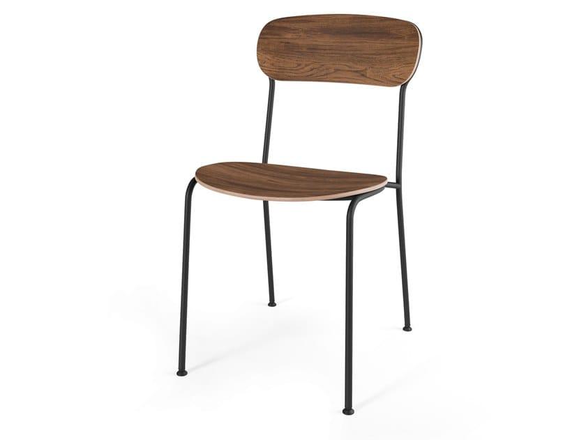Sedia impilabile in acciaio e legno STACK by STELLAR WORKS