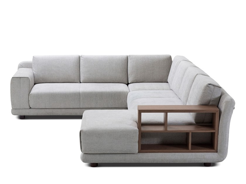 Corner fabric sofa with integrated magazine rack STAGE by Extraform