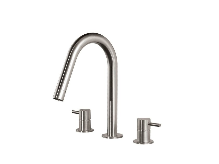 3 hole countertop washbasin mixer STAINLESS | 3 hole washbasin mixer by rvb