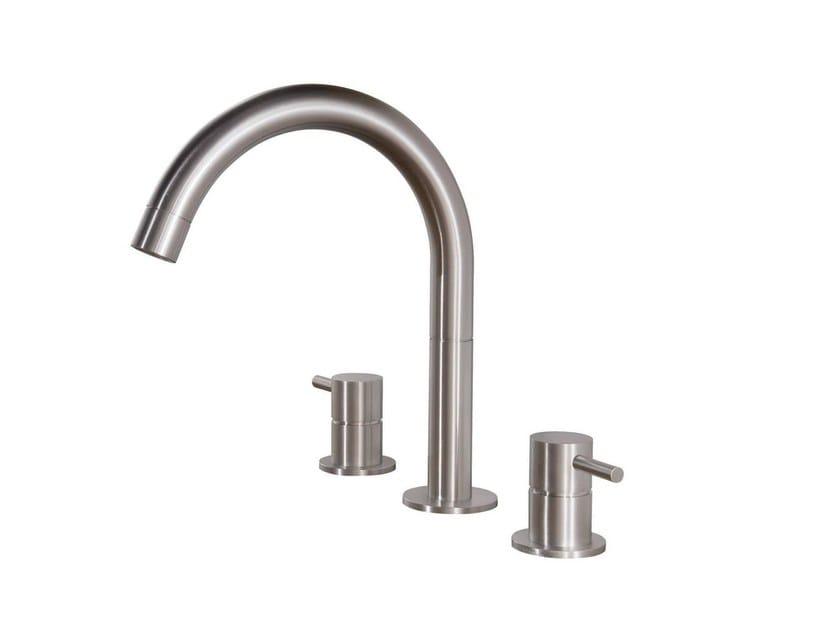 3 hole countertop washbasin mixer STAINLESS | 3 hole washbasin mixer by rvb