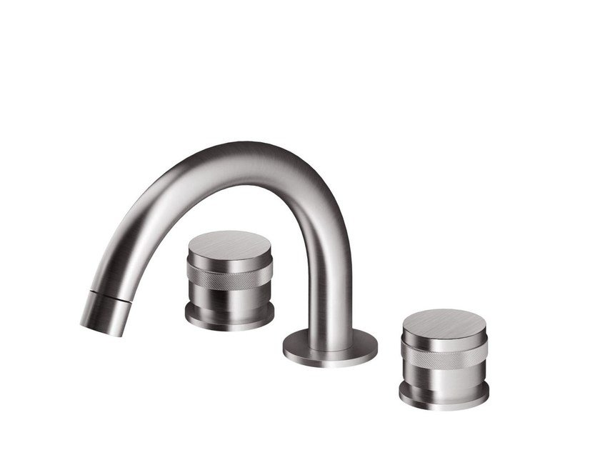 3 hole countertop washbasin mixer STAINLESS | Countertop washbasin mixer by rvb