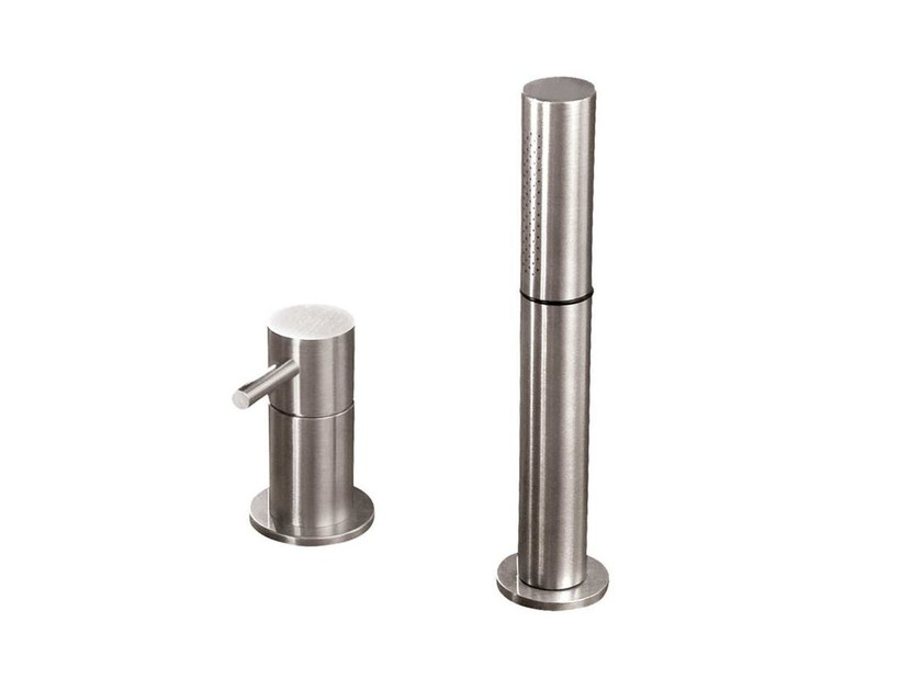 2 hole bathtub mixer with hand shower STAINLESS | Bathtub mixer with hand shower by rvb