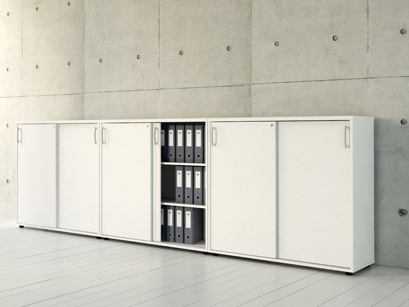 office storage unit. Low Office Storage Unit With Sliding Doors STANDARD | By MDD