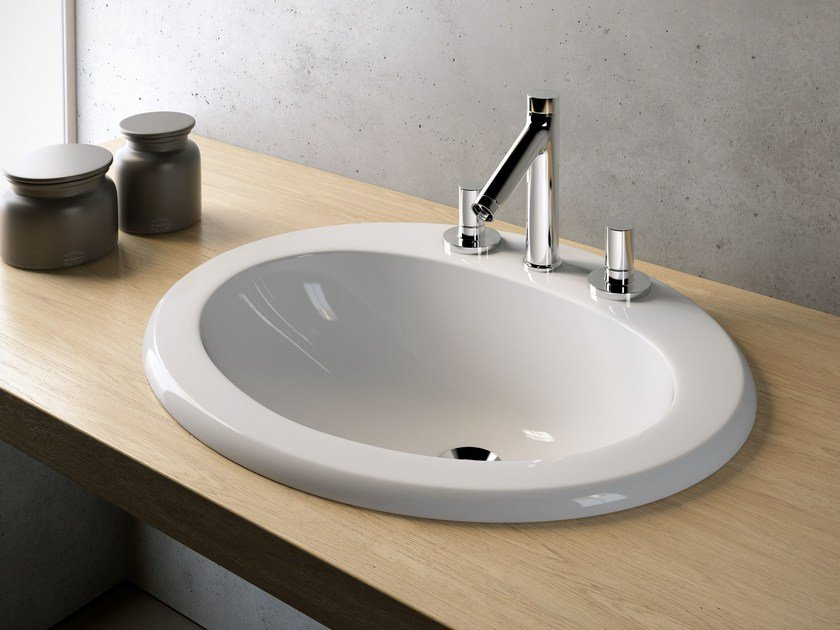 Inset oval washbasin STANDARD by Olympia Ceramica