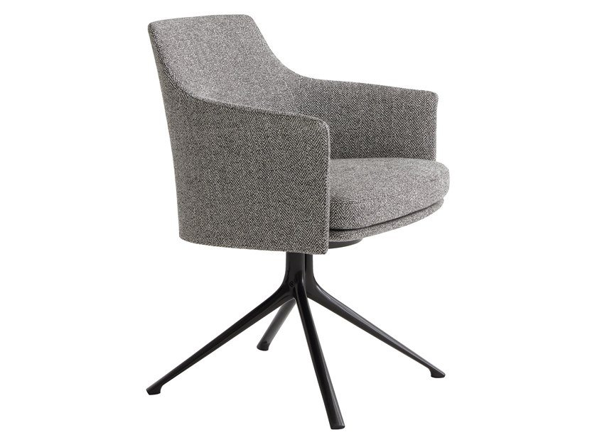 Swivel fabric chair with armrests STANFORD BRIDGE by poliform