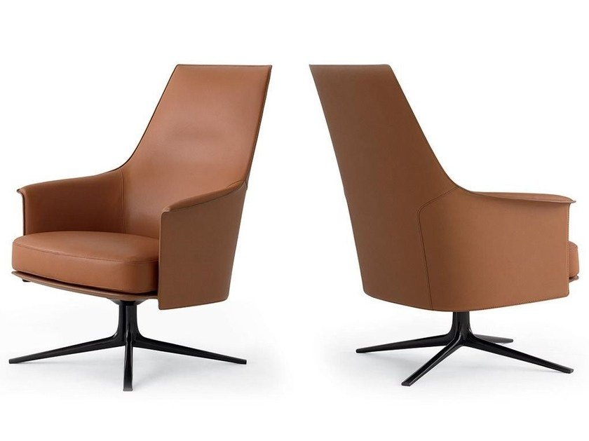 Swivel Leather Armchair With 4 Spoke Base With Armrests STANFORD LOUNGE By  Poliform