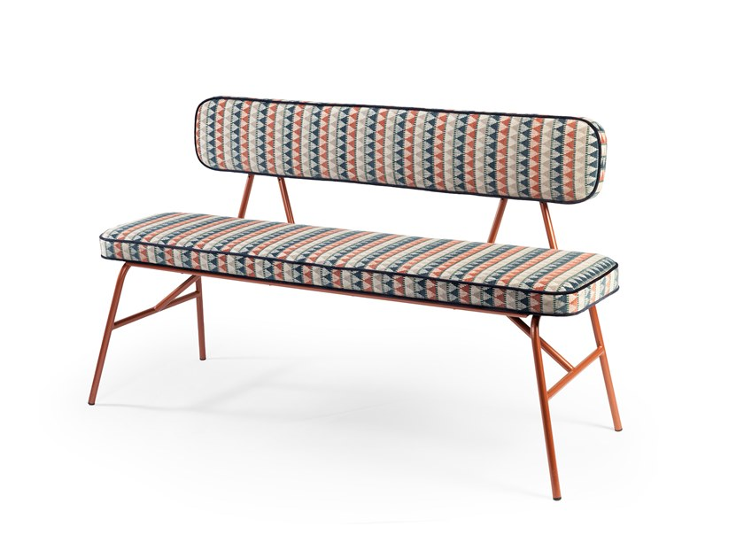 Upholstered fabric bench with back STATE | Bench with back by Mambo Unlimited Ideas
