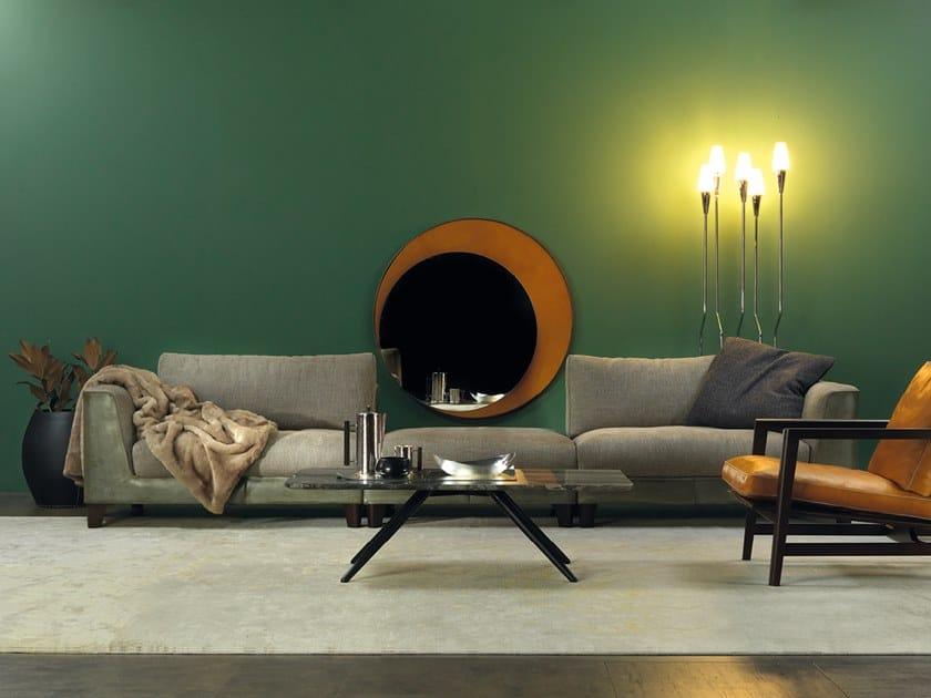 Modular leather and fabric sofa STATUS QUO | Fabric sofa by Borzalino