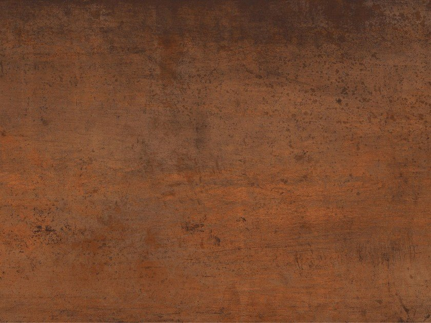 Ultra thin outdoor Techlam® wall tiles with metal effect STEEL CORTEN by Levantina