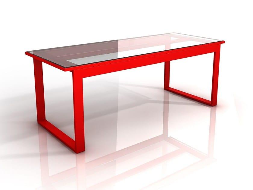 Scrivania in ferro e vetro steel glass desk garda design for Scrivania design