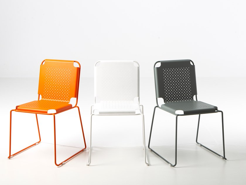 Sled base stackable steel chair STEELO by Officine Tamborrino