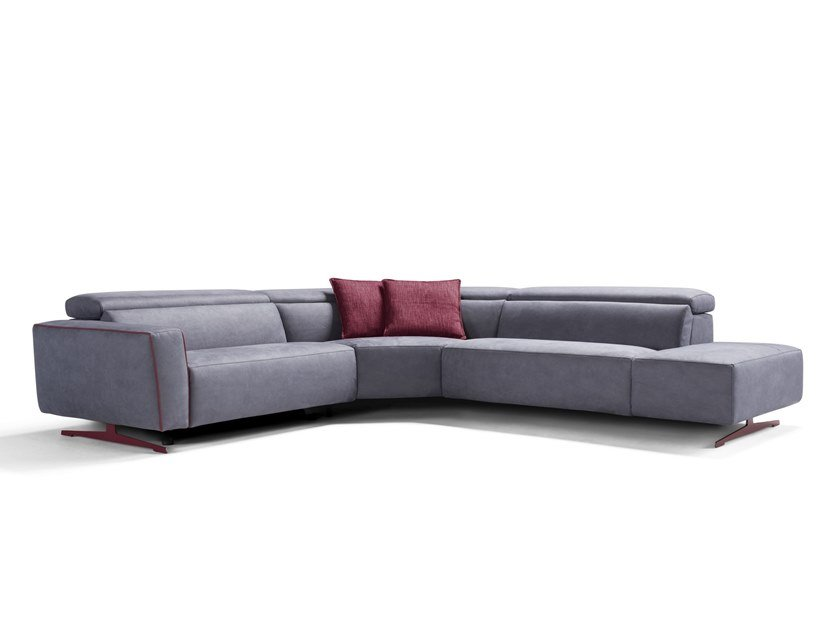 Corner Recliner Fabric Sofa With Electric Motion Stefanie By Egoitaliano