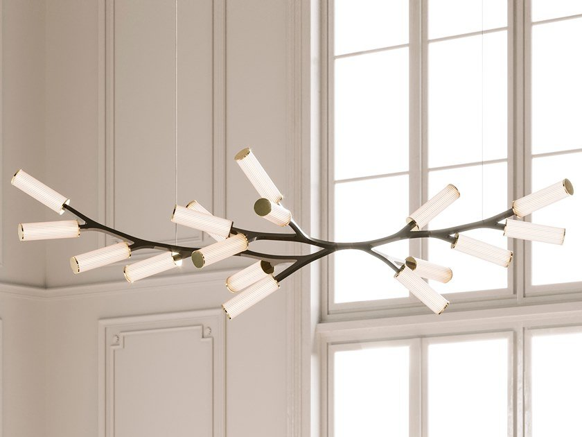 Lampada a sospensione a LED in ottone STEINWAY HAARA by Cameron Design House