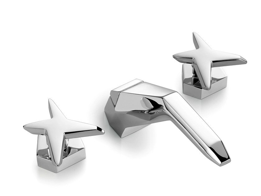 3 hole chromed brass washbasin tap STELLA | 3224 by RUBINETTERIE STELLA