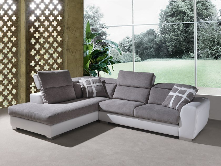 Corner 4 seater fabric sofa with headrest STELLA | Corner sofa by Flexstyle