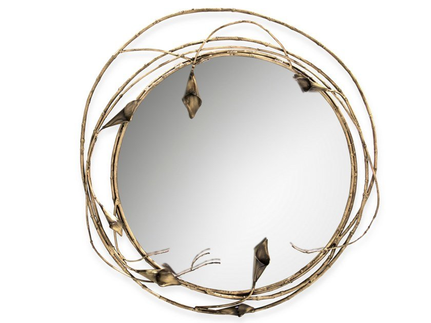 Round framed wall-mounted mirror STELLA by KOKET