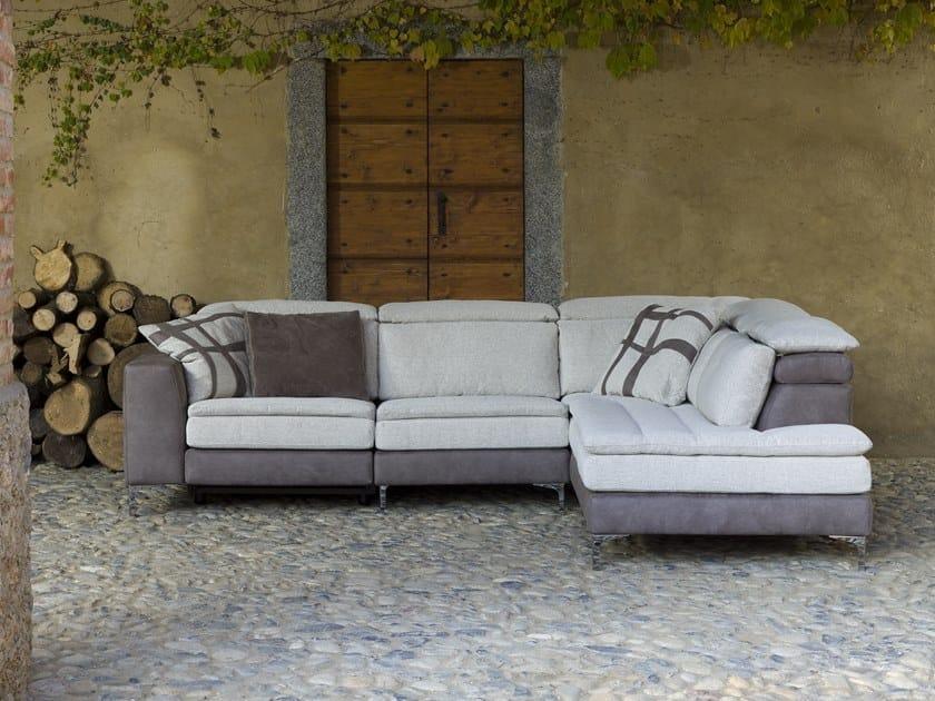 Corner relaxing 4 seater fabric sofa STELLA SOSPESO by Flexstyle