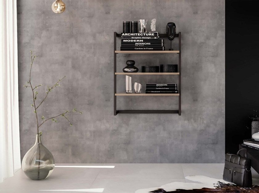 Wall-mounted bookcase STEP by Damiano Latini