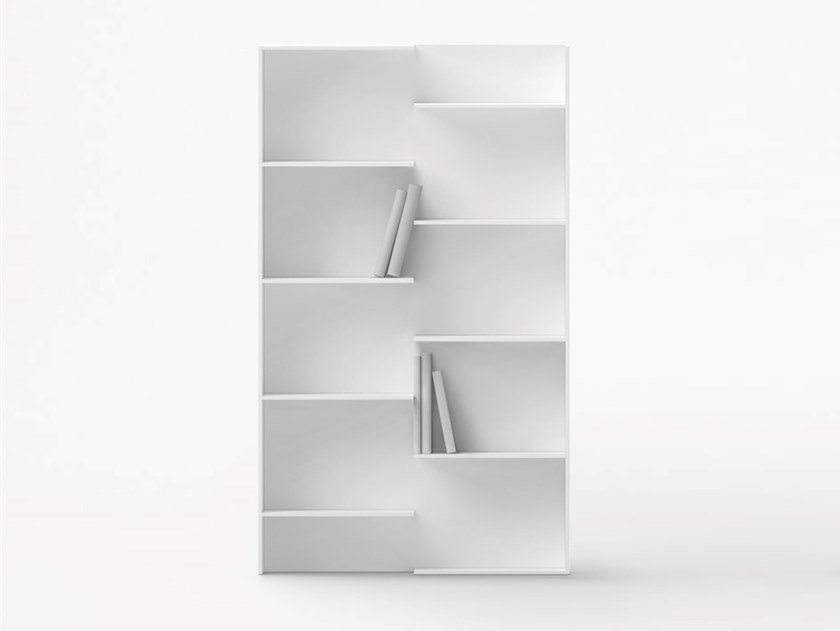 Open lacquered engineered wood bookcase STEP by Desalto