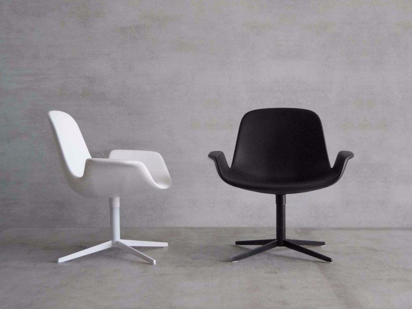 Swivel easy chair with 4-spoke base STEP LOUNGE by Tonon