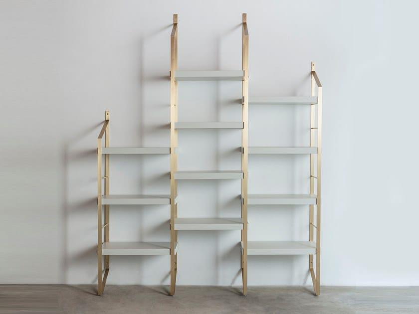 Open modular brass bookcase STEP by Medulum