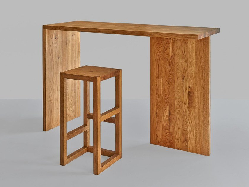 Sgabello In Legno Design : Sgabello alto in legno massello step vitamin design