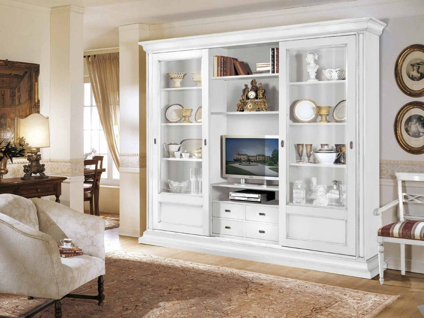 Solid wood TV wall system STILE | Lacquered bookcase by Arvestyle