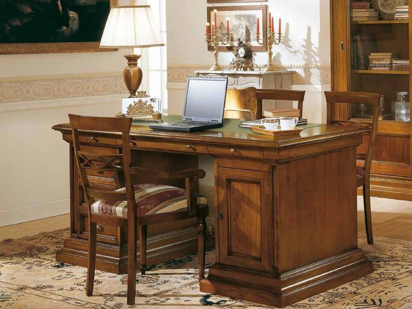 Scrivania Ufficio Legno Massello : Scrivania scrittoio porta pc in legno massello fin noce classico