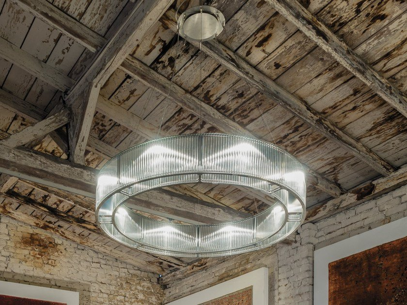 LED Glass and Stainless Steel pendant lamp STILIO UNO 1200 by LICHT IM RAUM