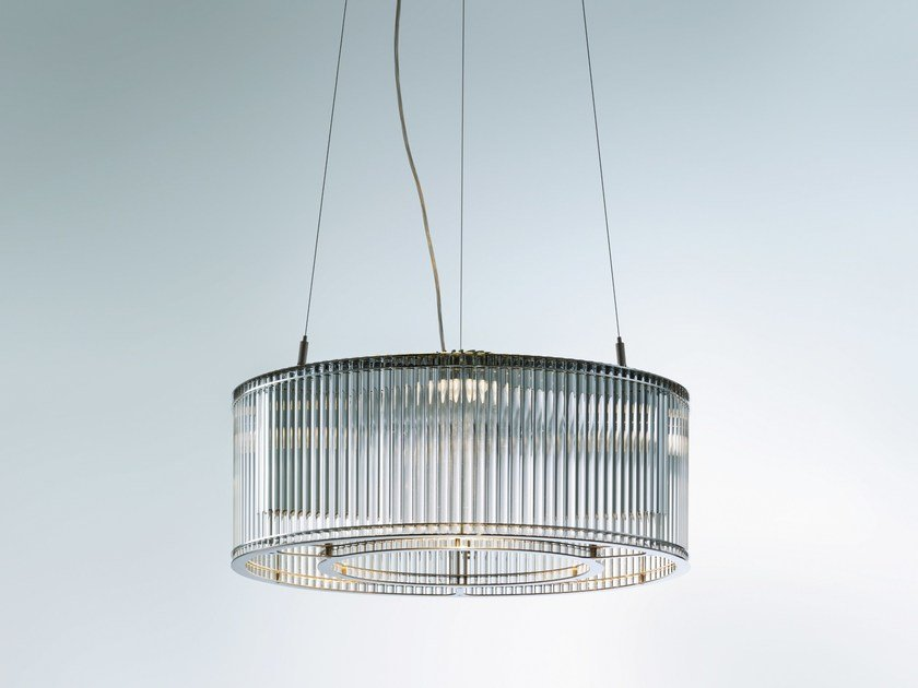 LED Glass and Stainless Steel pendant lamp STILIO UNO 550 by LICHT IM RAUM