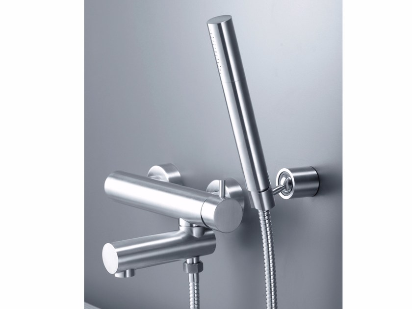 Wall-mounted 1 hole stainless steel bathtub mixer with hand shower ...