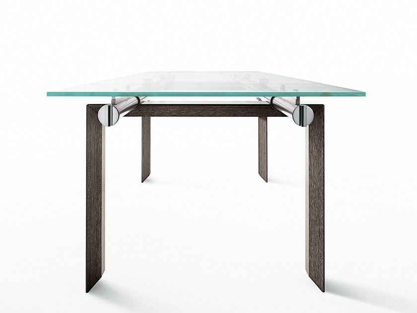 Extending rectangular crystal and steel table STILT by Desalto