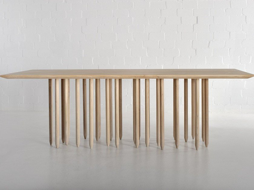 Rectangular solid wood table STILUS by Vitamin Design