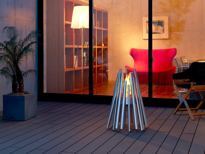 Outdoor freestanding bioethanol stainless steel fireplace STIX by EcoSmart Fire