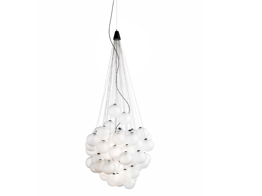 Lampada a sospensione a LED in vetro soffiato STOCHASTIC by LUCEPLAN