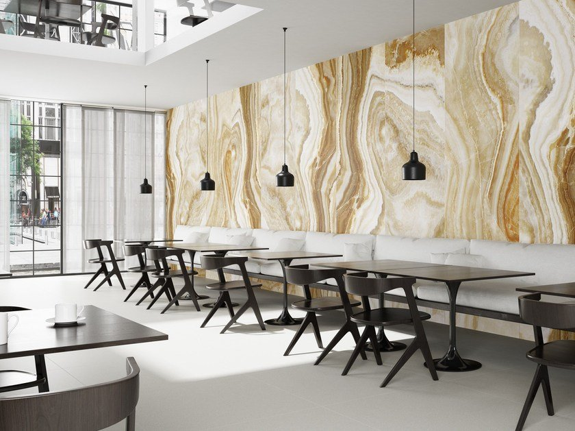 Ultra thin Techlam® wall/floor tiles with stone effect AGATHA CARAMEL by Levantina