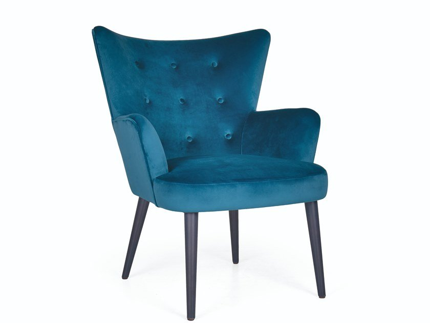 Tufted fabric armchair with armrests ODALIS by Fenabel