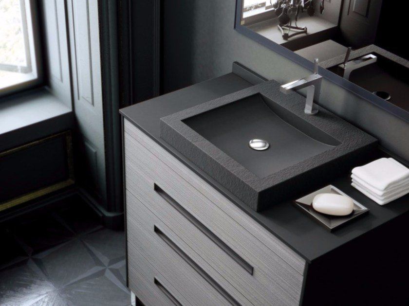 Silexpol® countertop square washbasin STONE by Fiora