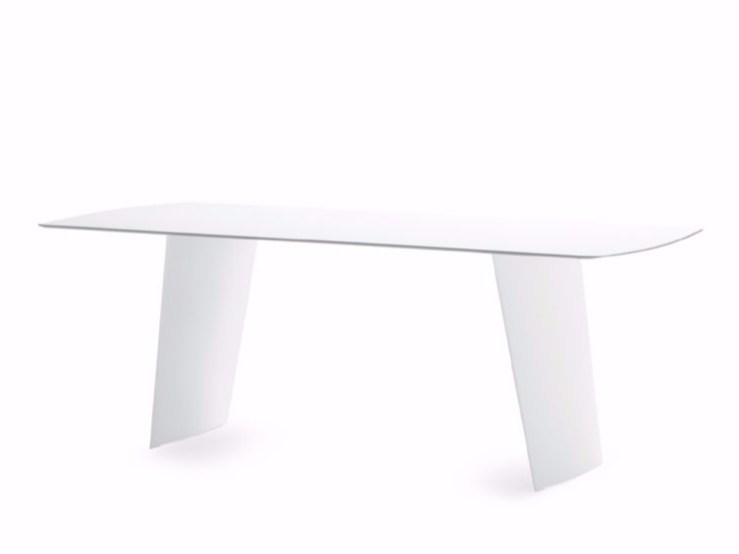 Rectangular polyethylene garden table STONE-R by DOMITALIA