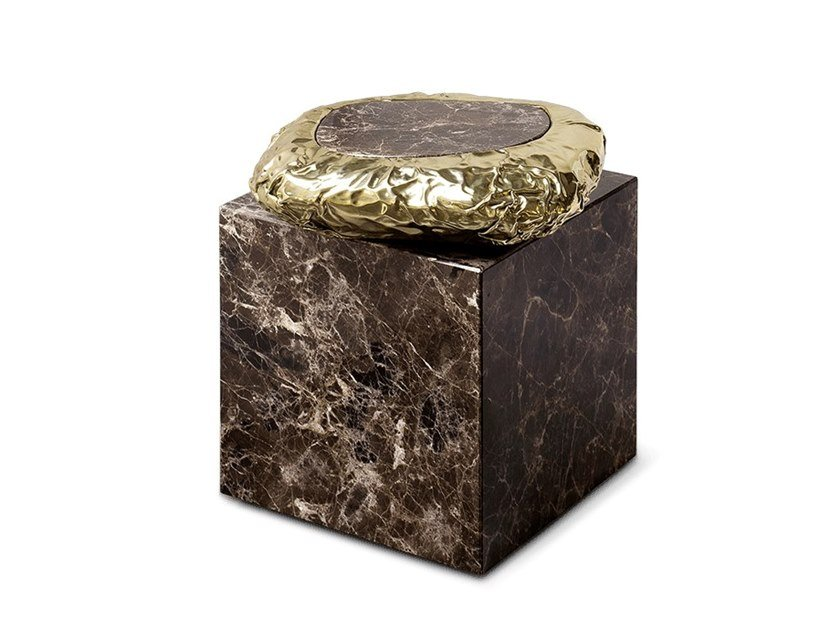 Tavolino quadrato in marmo Dark Emperador STONEHENGE DARK EMPERADOR by Boca do Lobo