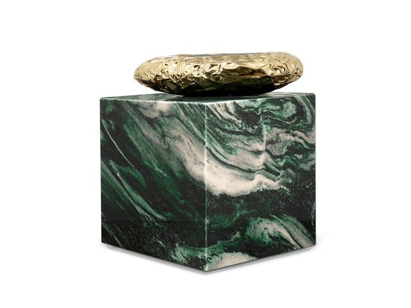 Tavolino quadrato in marmo STONEHENGE LAPONIA GREEN by Boca do Lobo